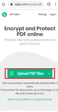 upload pdf files option
