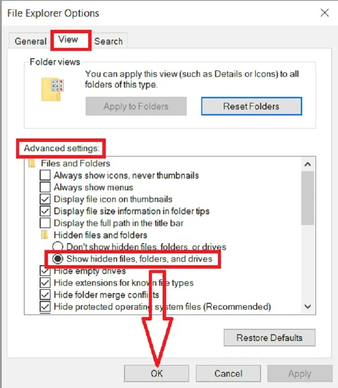 enable the show hidden files option and click on ok.
