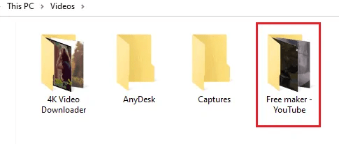 Folder of donloaded videos