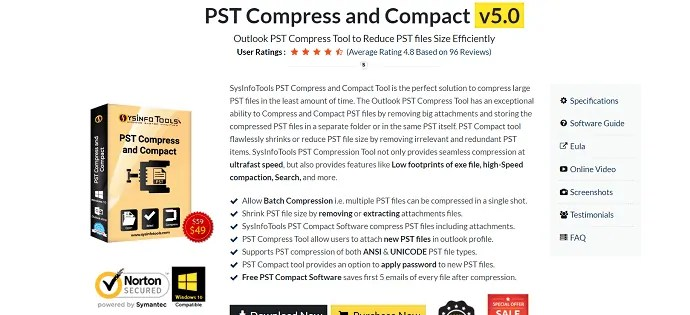 SysinfoTools PST compress and compact tool.