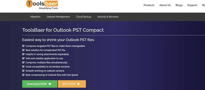 Toolsbaer for Outlook PST compact.