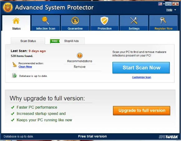 home screen of Advanced system protector