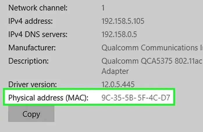MAC address using windows3