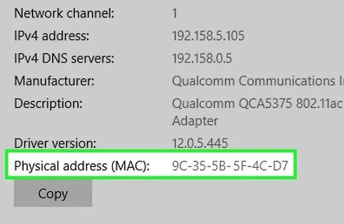 MAC address using windows3