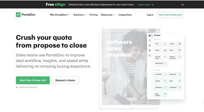 PandaDoc-online signature-software site homepage.