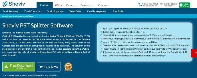 Shoviv PSt splitter software.