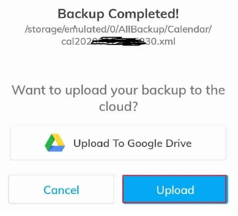 backup completed succesfully using app