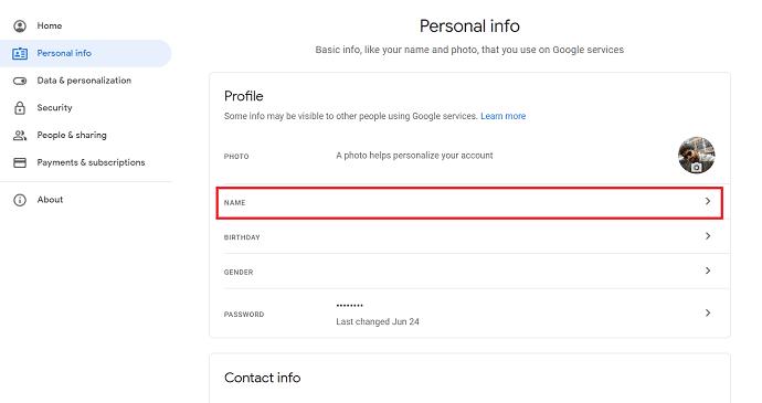 name option