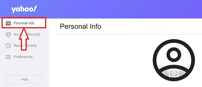 click on personal info section