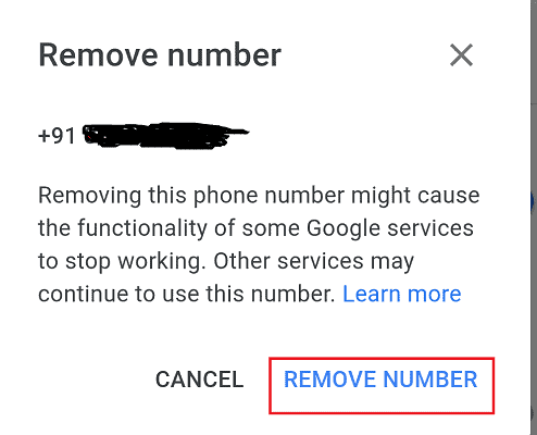remove number