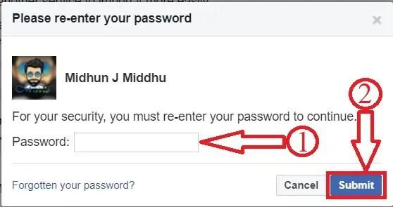Facebook Password Confirmation