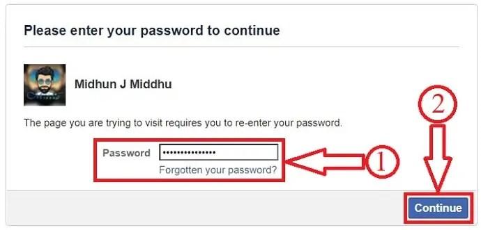 Facebook re-enter password