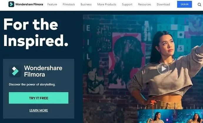 Wondershare Filmora Homepage