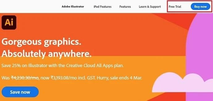 Adobe Illustrator homepage