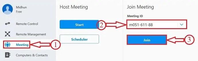 Join Meeting in TeamViewer