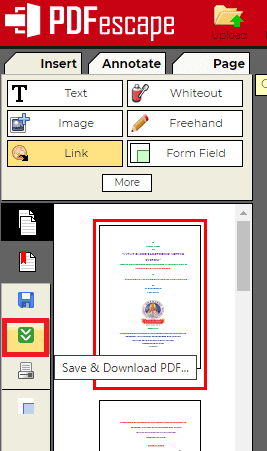 Save and download in PDFescape