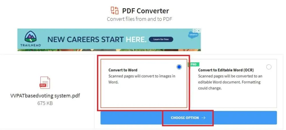 Choose an option in Smallpdf