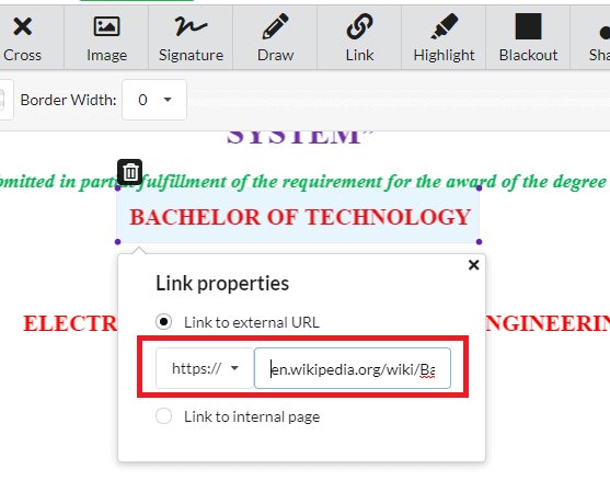 Link properties - DocFly