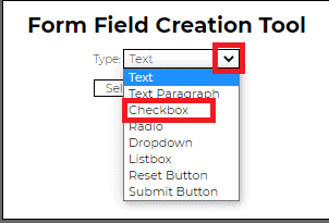 Form field creation tool in PDFescape