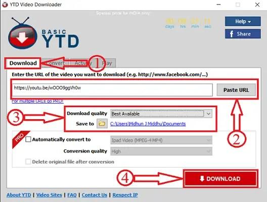 YTD Video Downloader paste link