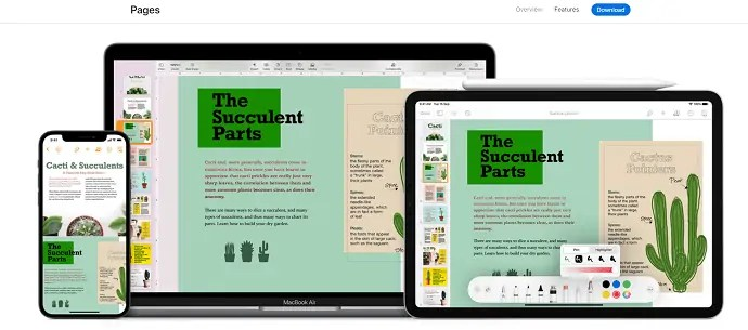 Pages- Best free word processor for Apple devices.