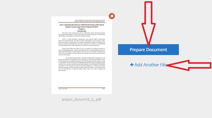 select Prepare Document option