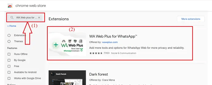 Search for WA Web plus for WhatsApp