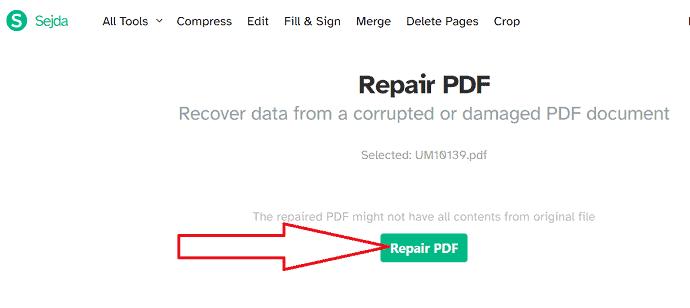 Select Repair PDF option.