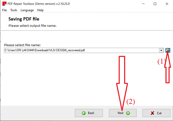 select the file name