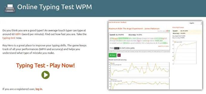 Keyhero - Online Typing Teest WPM