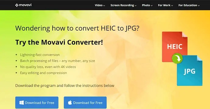 Movavi HEIC converter official page