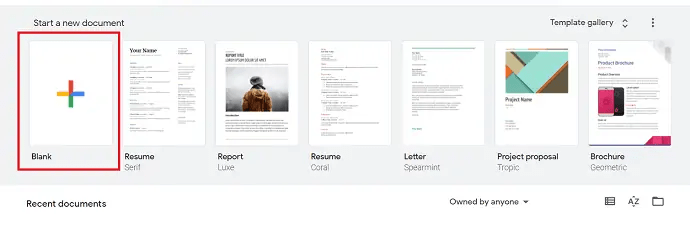 Selection of new blank document