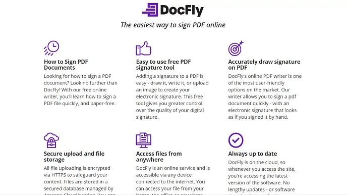 DocFly signature site webpage