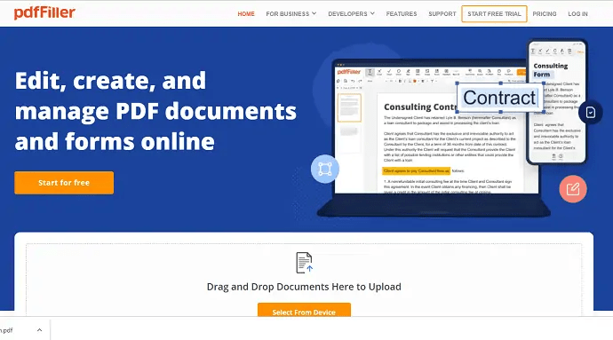 PDFfiller-HomePage-To-add-signature-to-PDF-files