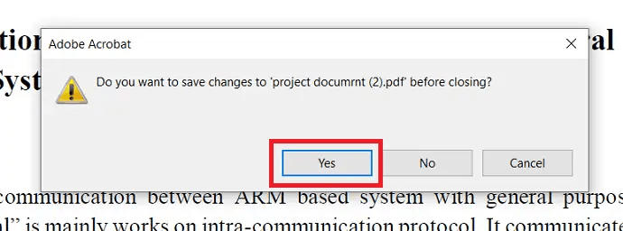click on yes to save the file