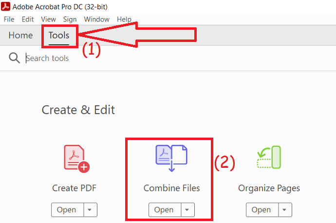 select combine PDF files.