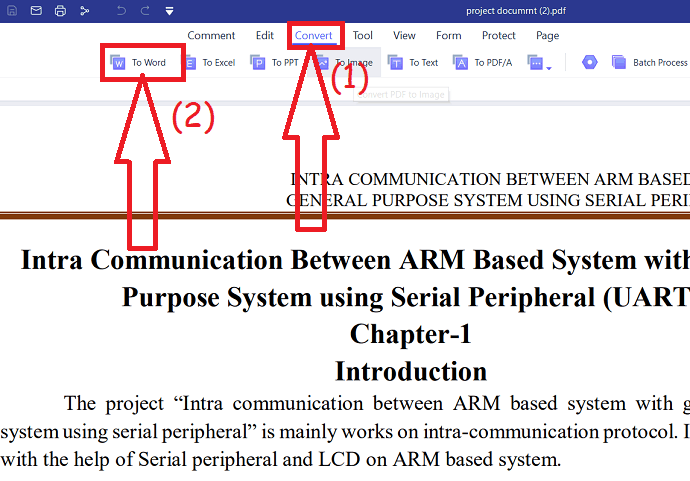 selection of To word option under conver to