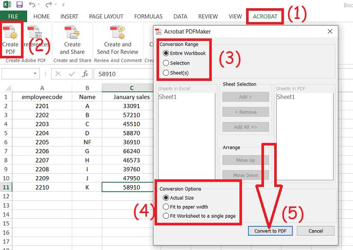 Excel to PDF using Acrobat DC