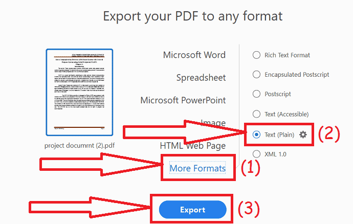 Export PDf to Text