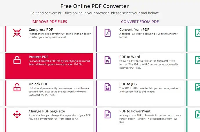 Selection of protect PDF option
