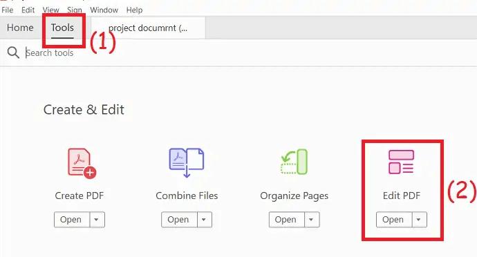 select Edit PDF option