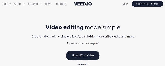 Veedi.io Homepage