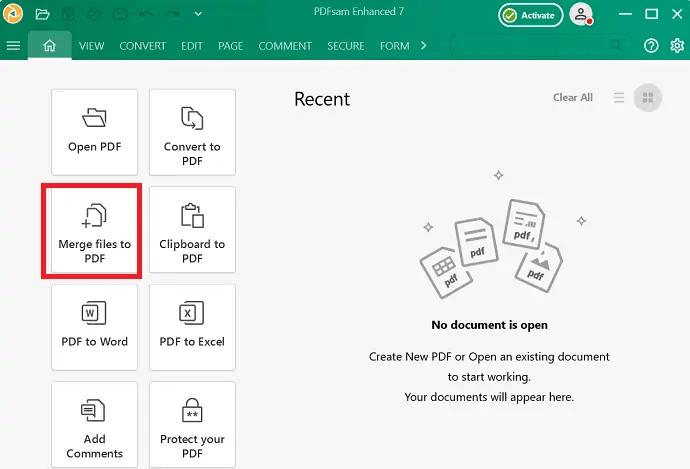 selection of merge PDF