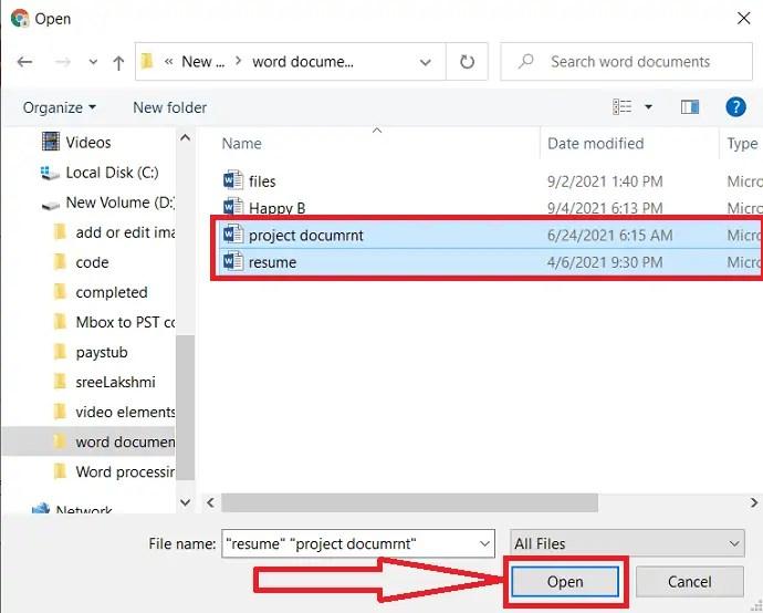 Upload word documents