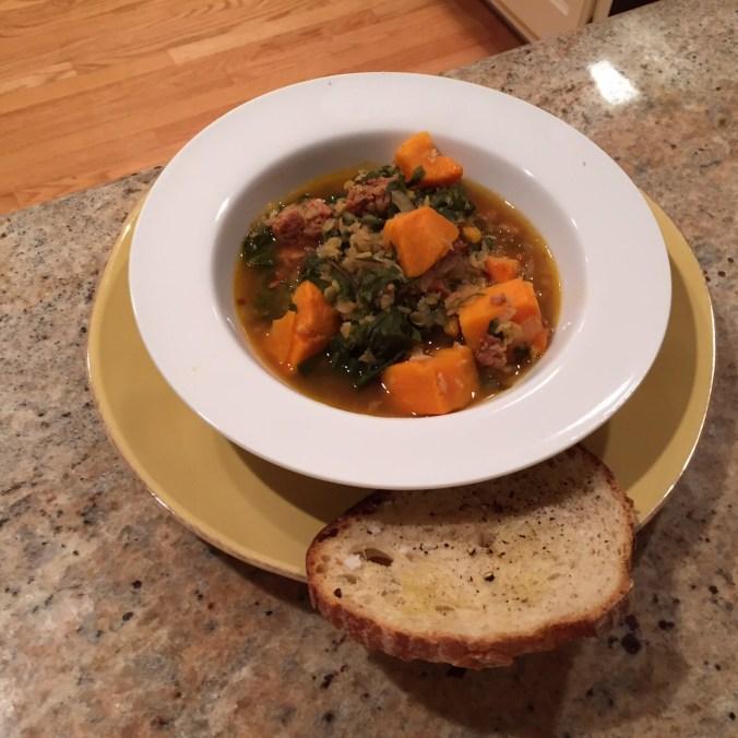 Mustard Green-Sausage-Sweet Potato Stew