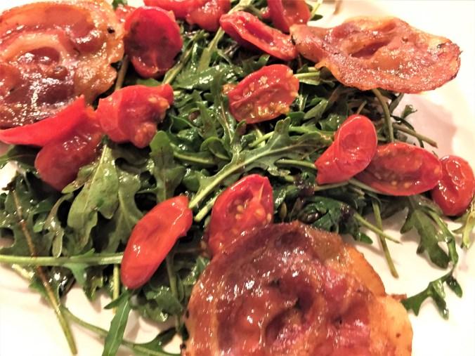 Pancetta Arugula Roasted Tomato Salad
