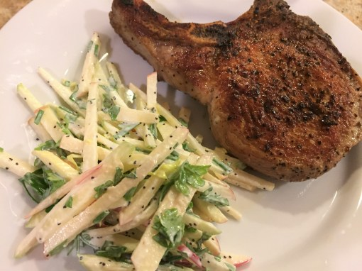 chop with apple slaw