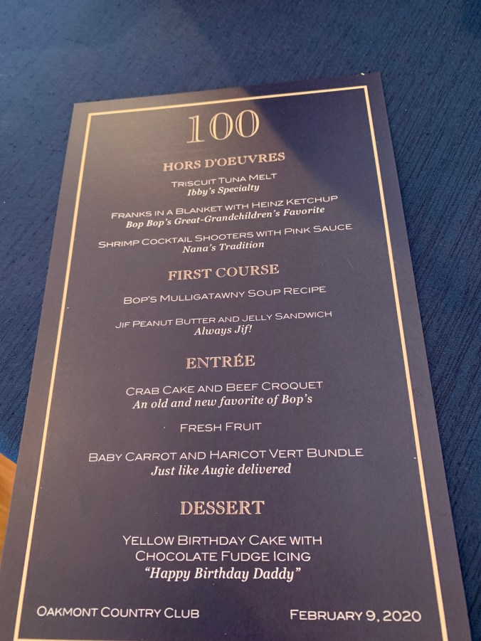 Oakmont menu for Bop