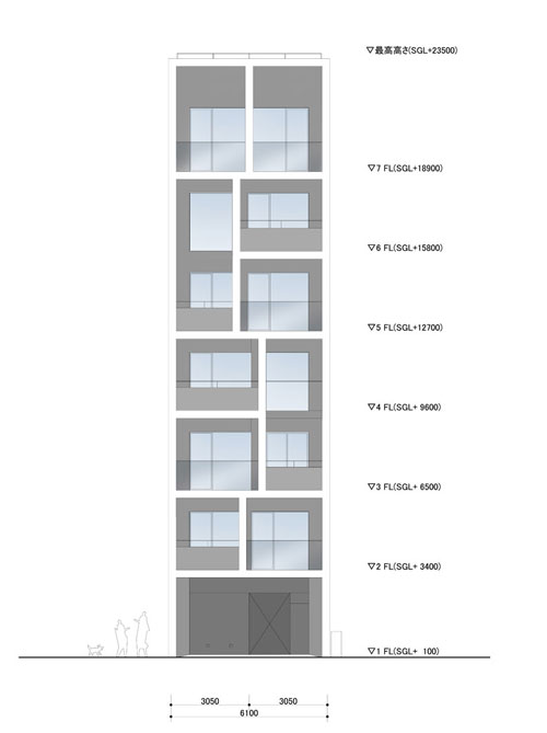 Apartment in Katayama ~ Elevation, Section and Floor Plans