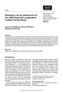 Substance use by adolescents of the USA National Longitudinal Lesbian Family Study.